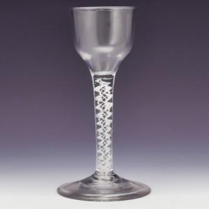 A Very Fine Double Series Opaque Twist Wine Glass c1760